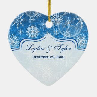 Blue White Snow Flakes Photo Christmas Ornament
