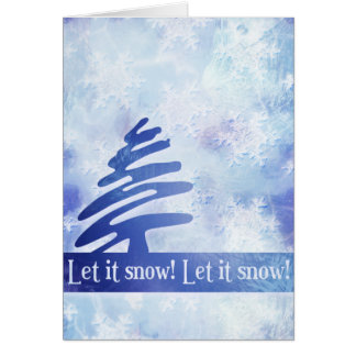 """Blue & White Snowflake """"Let it Snow!"""" Holiday Card"""
