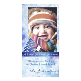 Blue White Snowflake Let it Snow Photo Card