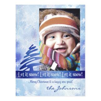 Blue & White Snowflake Let it Snow! Photo Postcard