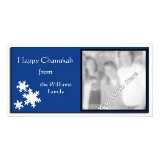 Blue & White Snowflake Photo Hanukkah Card