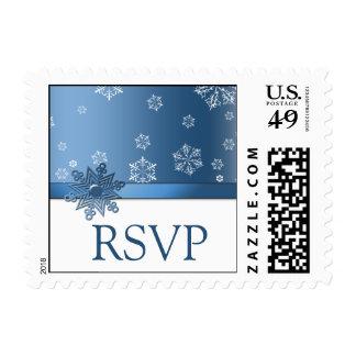 Blue & White Snowflake RSVP  Postage