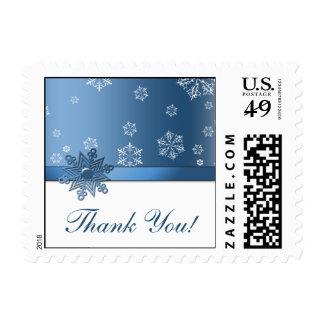 Blue & White Snowflake Thank You Postage