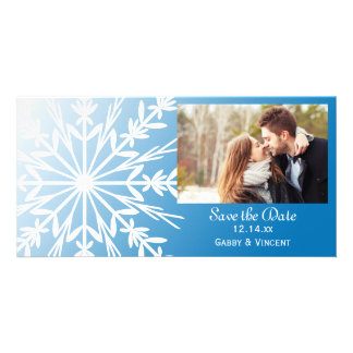 Blue White Snowflake Winter Wedding Save the Date Card