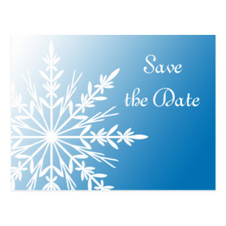 Blue White Snowflake Winter Wedding Save the Date Postcard