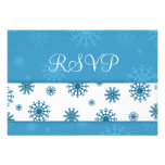Blue White Snowflakes Christmas Wedding RSVP Cards Custom Announcements