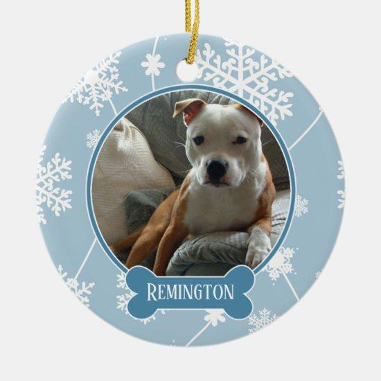 Blue White Snowflakes Photo Christmas Ornament
