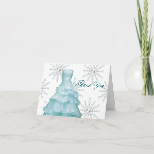 Blue White Snowflakes Quinceanera Thank You Cards Zazzle Com
