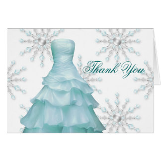 Blue White Snowflakes Quinceanera Thank You Cards