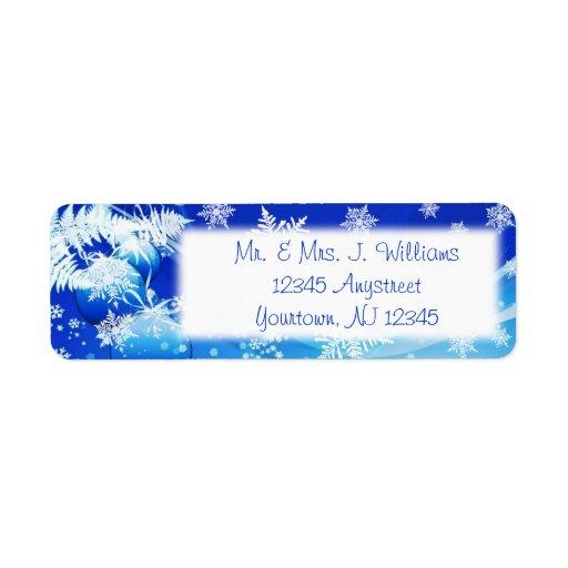 Blue White Snowflakes Return Address Label
