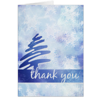 "Blue & White Snowflakes: Simple ""Thank You"" Card"