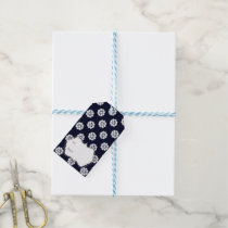 blue white snowflakes winter holidays pattern gift tags