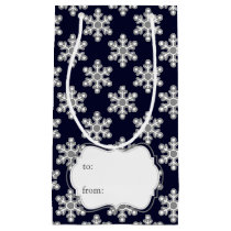 blue white snowflakes winter holidays pattern small gift bag
