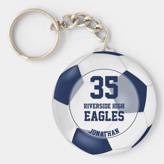 blue white soccer ball boys team spirit keychain