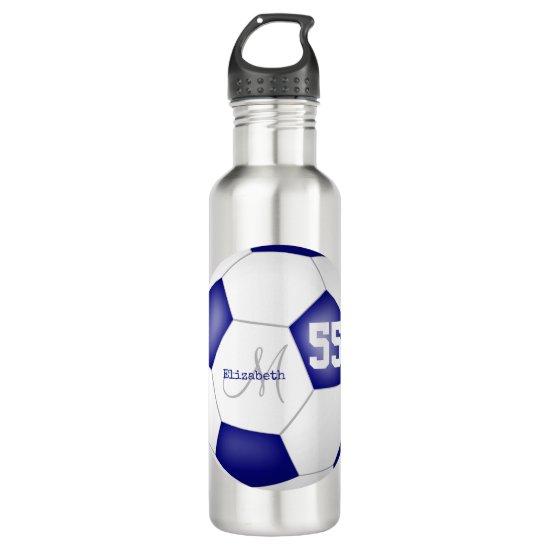 blue white soccer ball girl name jersey number stainless steel water bottle