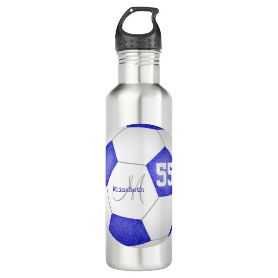 blue white soccer girl name jersey number stainless steel water bottle