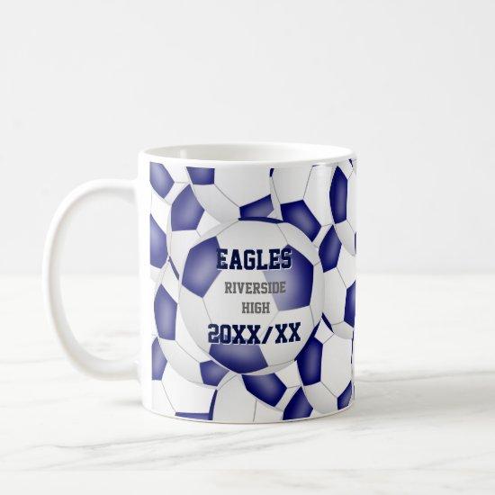blue white soccer school team colors coach gift coffee mug