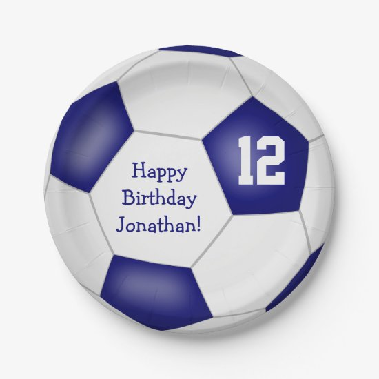 blue white soccer themed kids birthday party paper plate