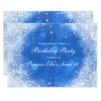 Blue & White Sparkle Cinderella Any Event Party Invitation