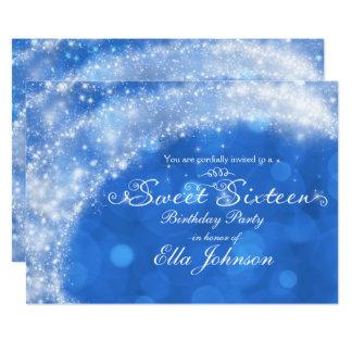 Blue & White Sparkle Cinderella Sweet 16 Party Card