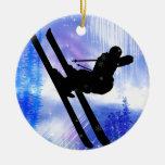Blue & White Splashes Christmas Tree Ornaments
