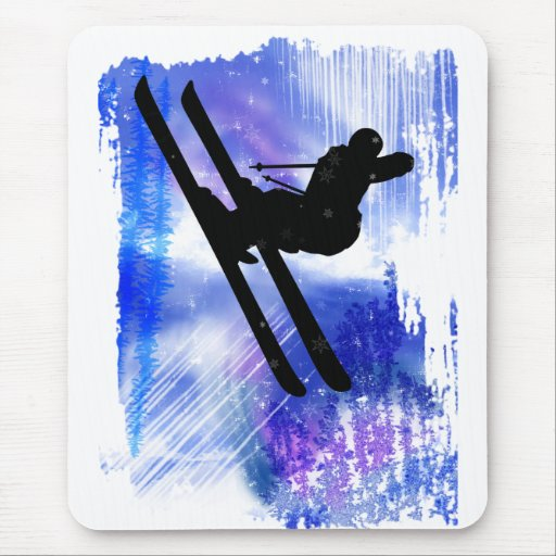 Blue & White Splashes Mouse Pads