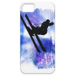 Blue & White Splashes Skier iPhone 5 Case