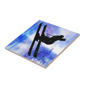Blue & White Splashes Skier Tile
