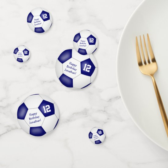 blue white sports birthday party soccer ball confetti
