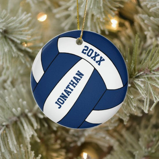 blue white sports team colors boys volleyball ceramic ornament