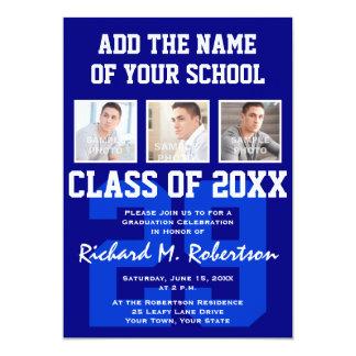 Blue White Sporty Guy's Graduation Varsity Number 5x7 Paper Invitation Card