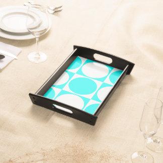 Blue&White Square&Circle Decorative Design Serving Tray