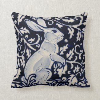Blue White Standing Rabbit Hare Bunny Chinoiserie Throw Pillow