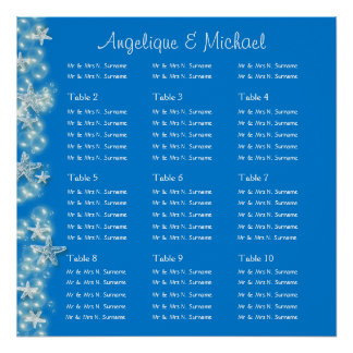 Blue white starfish wedding engagement poster