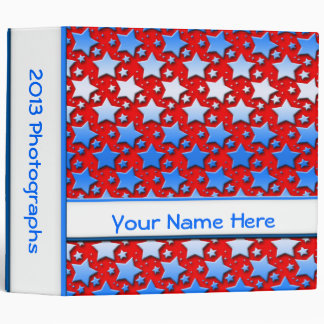 Blue White Stars on Red 3 Ring Binder