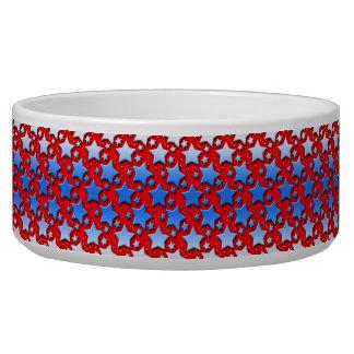 Blue White Stars on Red Bowl