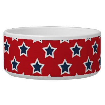 USA Themed Blue & White Stars on Red Bowl