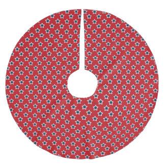 Blue & White Stars on Red Brushed Polyester Tree Skirt