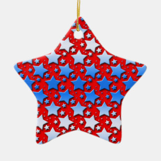 Blue White Stars on Red Double-Sided Star Ceramic Christmas Ornament