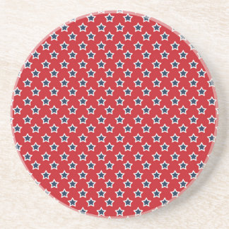 Blue & White Stars on Red Drink Coaster