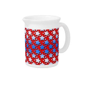 Blue White Stars on Red Drink Pitcher