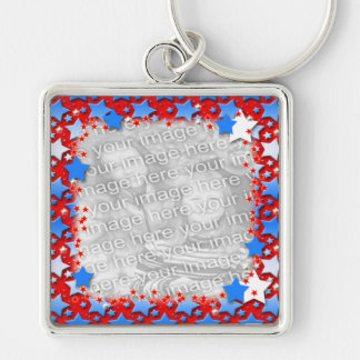 Blue White Stars on Red Keychain