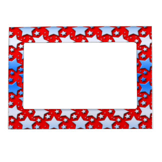 Blue White Stars on Red Magnetic Picture Frames