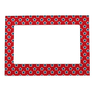 Blue & White Stars on Red Magnetic Picture Frame