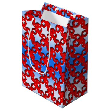 Linda_MN Blue White Stars on Red Medium Gift Bag
