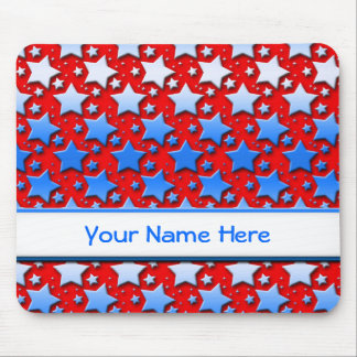 Blue White Stars on Red Mouse Pad