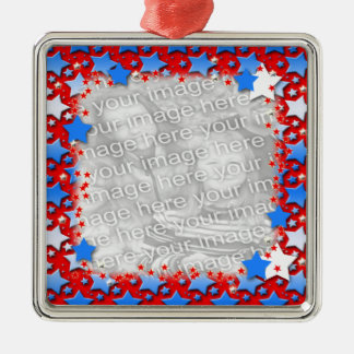 Blue White Stars on Red Christmas Ornaments