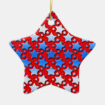 Blue White Stars on Red Ornament