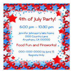 Blue White Stars on Red Personalized Announcements