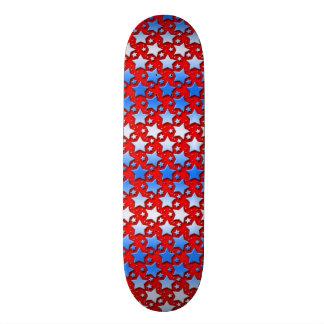 Blue White Stars on Red Skateboard Deck
